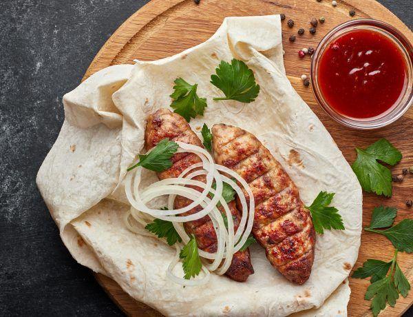 shish kebab con vegetales